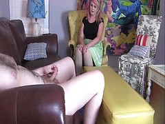 CFNM - Creepy Nude Cock Jerking & Handjob During Interview O