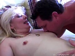 Fucking sexy MILF in fishnet stockings enjoys a hard fuck and a big facial cumshot