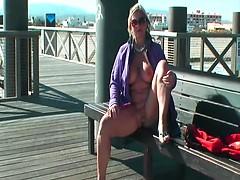 Naked In Public On The Bridge