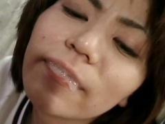 Japanese girl sucks cock
