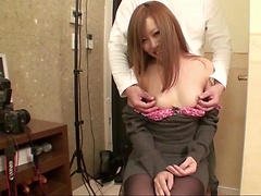 Small Japanese tits and tight pussy exposed for him to have fun and cum inside her