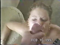 Blonde blows fat dick and takes big facial cumshot