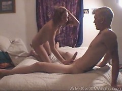 Slim amateur in bed with a tall blonde guy that finds fun ways to plow her pussy