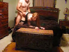 Sexy redheaded wife and her husband have adventurous hardcore sex on webcam