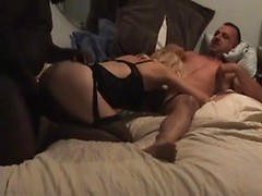 Wife does a 69 with her cuckold husband so he can watch BBC fuck her pussy
