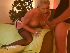 Blonde busty slut sucking and fucking big cock