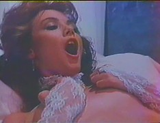 Erotic white lace lingerie on a vintage girl that craves cock in her hairy pussy
