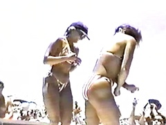 Naughty amateur girls doing hardcore on the nudist beach