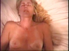 Blonde amateur wife blowing and fucking big cock in POV
