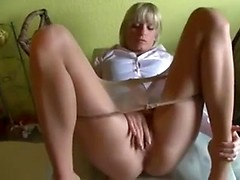 Girlfriend in pantyhose fucked in the cunt and asshole on kitchen table