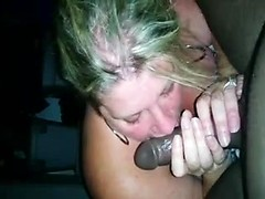 Cheating white wife with a thick body gives slow blowjob to black cock