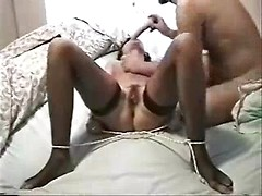 Horny amateur wife tries her first home BDSM with bondage