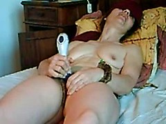 Mature wife stimulated and fucked in all her holes in home BDSM