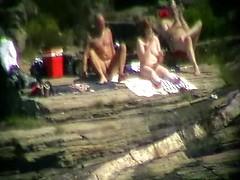 Best voyeur threesome beach sex with BBW whore jerking two cocks