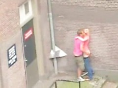 Best voyeur porn with amateur couple fucking hard right in the street