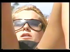 Best beach sex movie with blonde whore in black bikini spied in pussy
