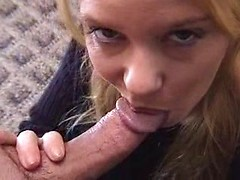 Amateur blonde hottie gently sucking my cock and getting facial