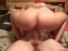 Kinky amateur wife Karen rides my cock till it explodes on her belly
