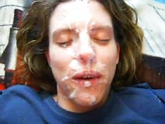 Hot dude cums on the face of his naughty amateur wife