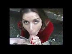 Lusty hot wife takes my cock deepthroat right in the street