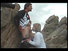Horny amateur slut Cleo sucking huge biker cock outdoors