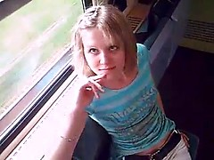 Sexy young babe picked up for dirty oral sex in the train